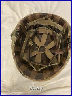 WWII era USMC Helmet With Liner And Camo Cover Frogskin Korean War