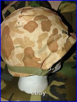 Ww2 Wwii Usmc Us Marines M1 Helmet Frogskin Camo Cover Korean War Salty Hbt