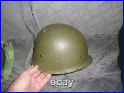 Ww2 -korean War Swivel Bail Helmet With Liner And Pacific Camo Cover