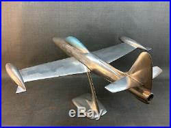 X-LARGE F-84 Jet Airplane Aluminum Desk Model Vintage USAF Korean War Metal WWII