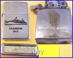 Zippo Cigarette Lighter Date Korean War Vintage 1953 USS Nereus AS 17 Magnetic